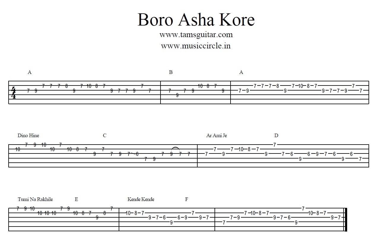 Boro Asha Kore guitar Tabs